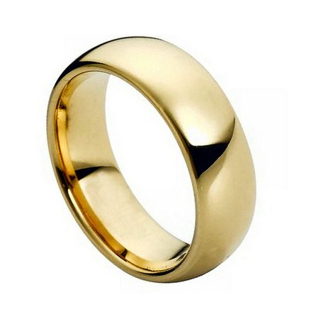 7mm Tungsten Carbide High Polish Gold Plated Classic Dome Wedding Band Ring For Men Or Ladies