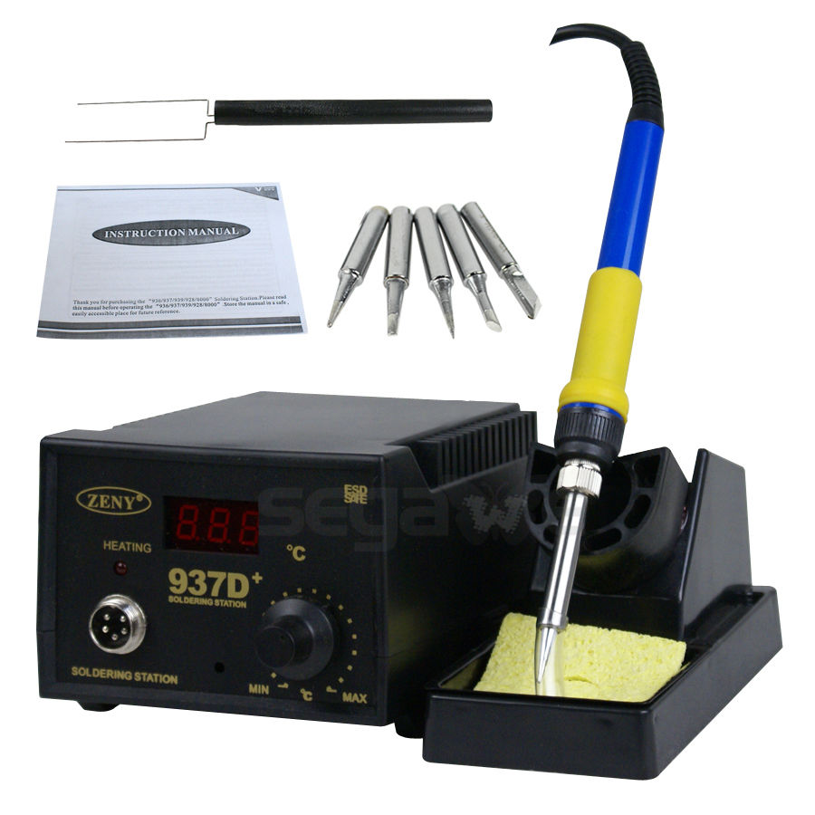 Gizmo Supply 937D+ Soldering Station JP Heater Iron Welding Solder SMD Tool 5 Tips Rework ESD