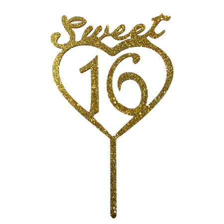 JennyGems Gold Sweet 16th Birthday Cake Topper - Sweet 16](Sweet 16 Cake Topper)