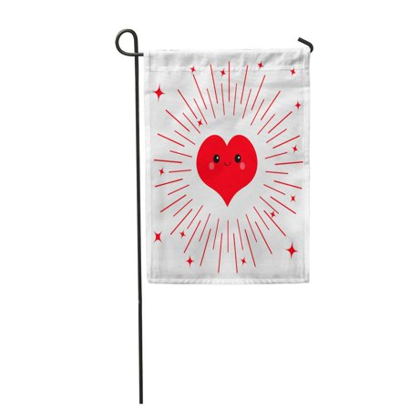 KDAGR Red Heart Face Head Cute Cartoon Kawaii Funny Smiling Character Eyes Mouth Blush Garden Flag Decorative Flag House Banner 12x18 inch - Red Eye Funny