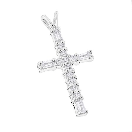 Ladies 14K Baguette & Round Natural 0.3 Ctw Diamond Cross Necklace For Women (White Gold)