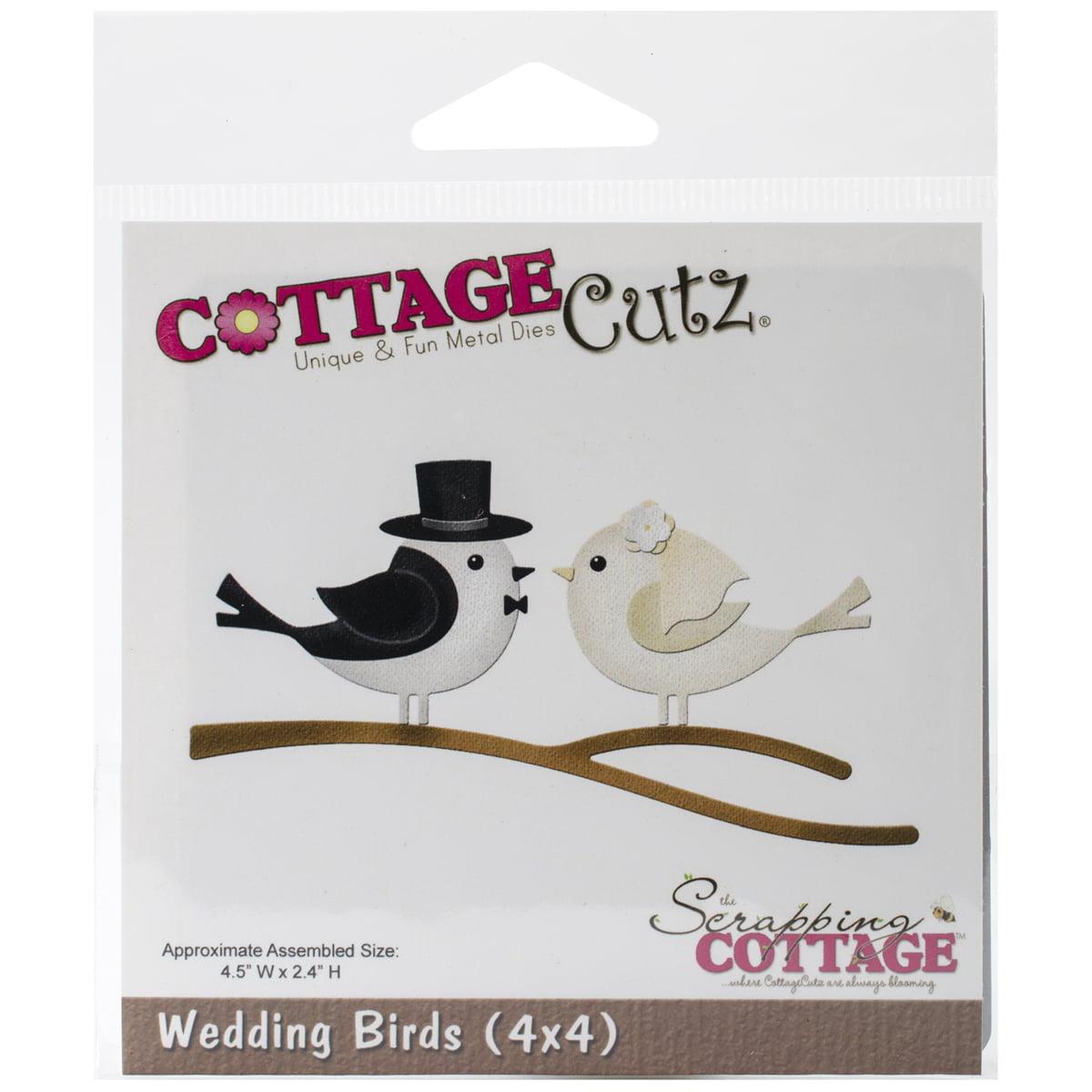"""CottageCutz Die, 4"""" x 4"""", Wedding Birds"""