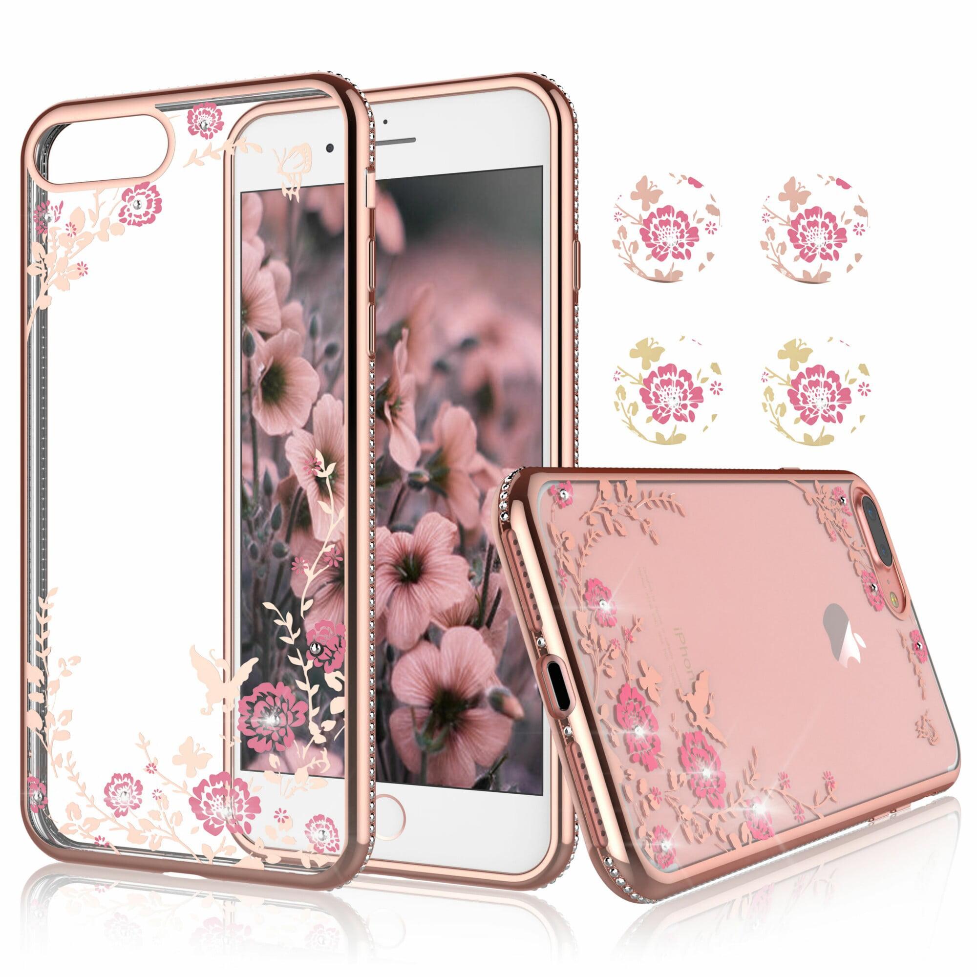 Apple iPhone 8 Plus 7 Plus 6s Plus 6 Plus X 8 7 6s 6 Cases, Njjex Ultra Clear hybrid Floral Printed Flower Sparkle Glitter SoftTPU