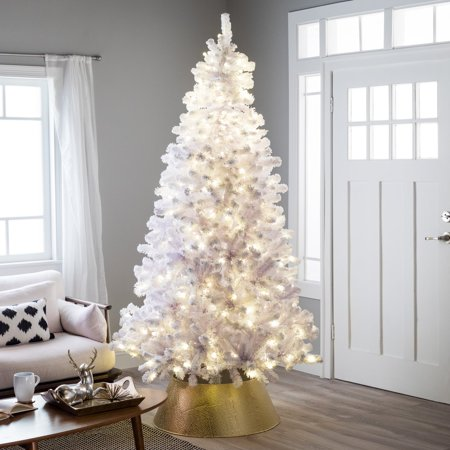 Belham Living 6.5ft Pre-Lit Artificial Christmas Tree with Clear Lights - White ()