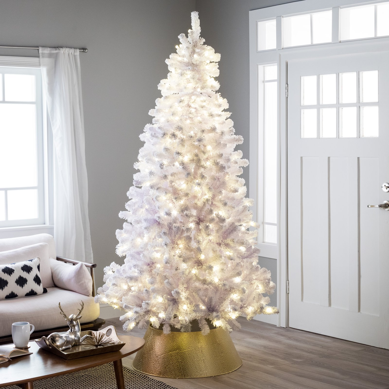 Belham Living 6.5ft Pre-Lit Artificial Christmas Tree with Clear Lights - White