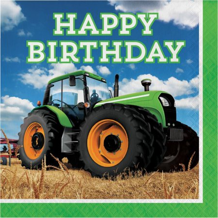 Creative Converting Tractor Time Birthday Napkins, 16 ct - Tractor Birthday Supplies