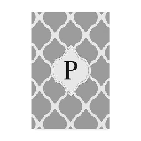 Trademark Fine Art 'P Gray Monogram' Canvas Art by Art Licensing Studio - Monogram Canvas
