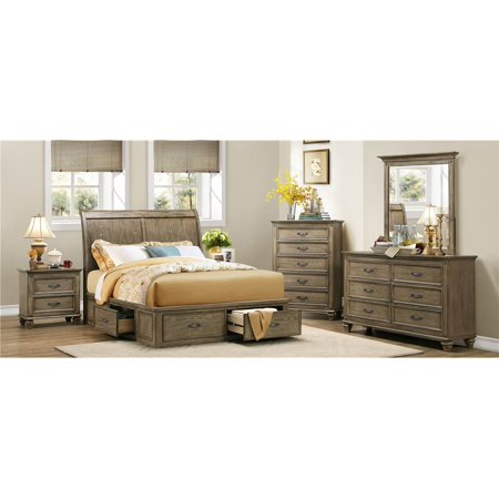 5 Pc Bedroom Set In Driftwood Oak Finish
