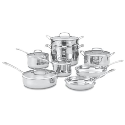 13 PC CONTOUR STAINLESS COOKWARE SET by
