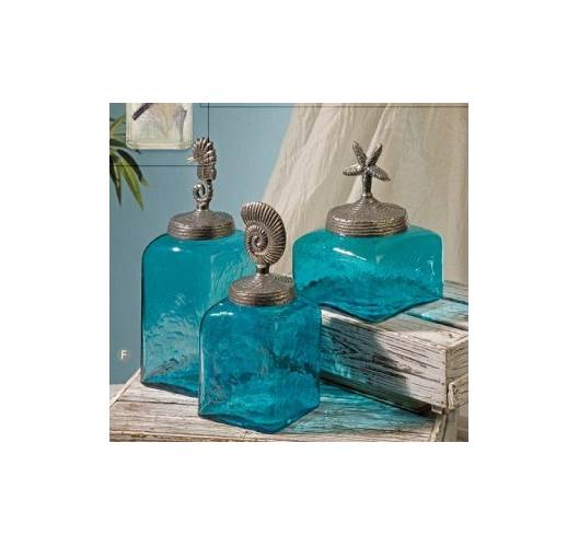 Sea Life Blue Square Canisters Set of 3 Glass w/ Lid Aluminum Décor Imax 20046-3