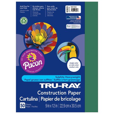 Tru-Ray Construction Paper, 9in. x 12in., Dark Green, Heavyweight 100% vat-dyed sulphite paper is perfect for any arts and crafts project By Pacon Ship from - Arts And Crafts Projects