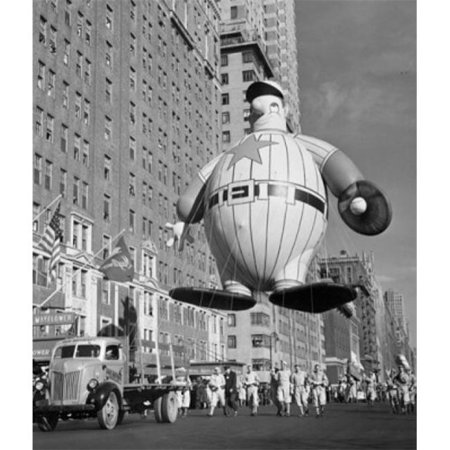 USA New York State City Macys Thanksgiving Day Parade Holding Baseball Player Balloon 1946 Poster Print, 24 x 36 - Large - New York City Halloween Parade