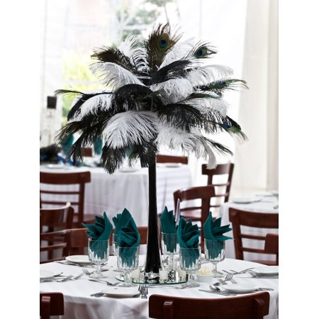 UBesGoo Fashion Party Decoration Ostrich Feather Black And White Combination 30-35cm (Ostrich Feather Decoration)