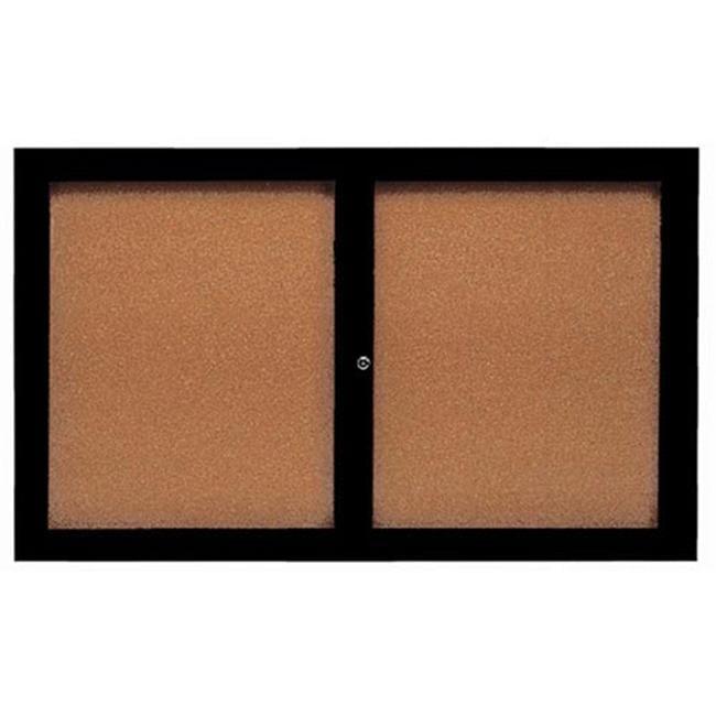 Aarco Products DCC3660RBK 2-Door Enclosed Bulletin Board - Black