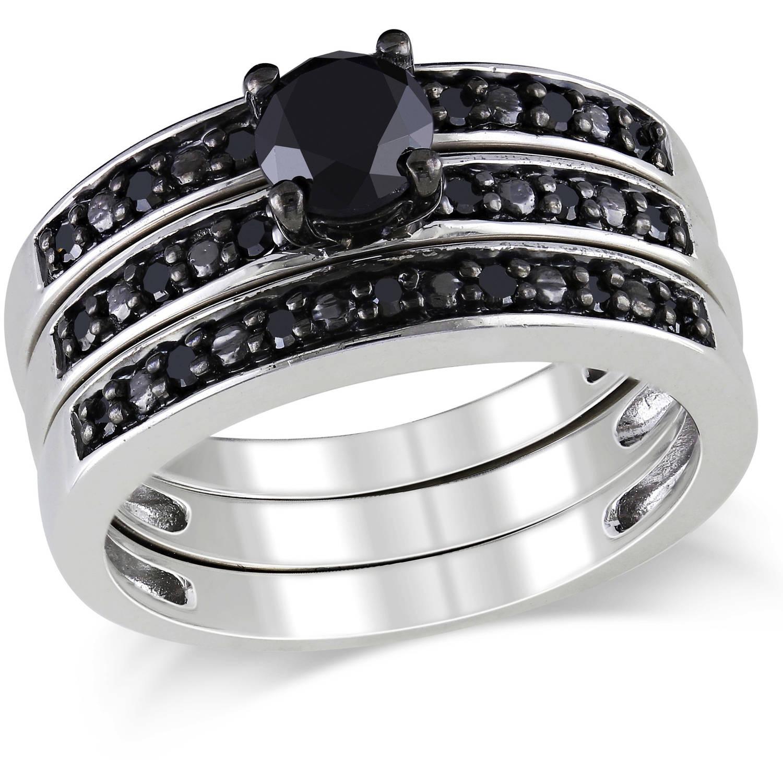 1 Carat T W Black Diamond Sterling Silver Three Piece Bridal Set