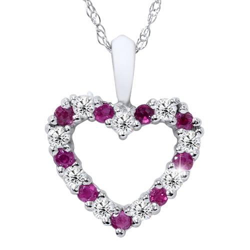 "1 2ct Ruby & Diamond Heart Pendant 14 Karat White Gold 1 2"" Tall by Pompeii3"