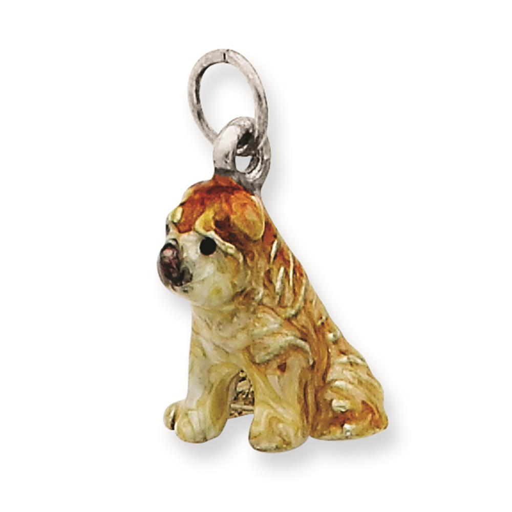 925 Sterling Silver 3-D Enameled Shar Pei Solid Charm Pendant