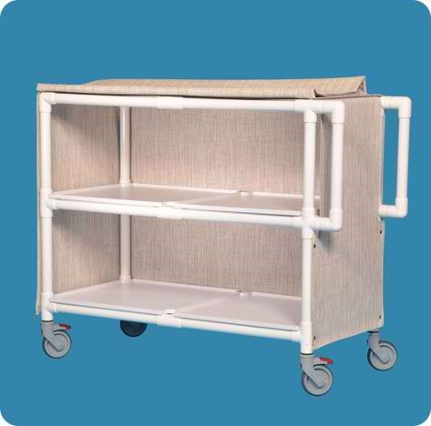 Jumbo Deluxe Linen Cart with Two Shelves - LC242P - Pink Cover