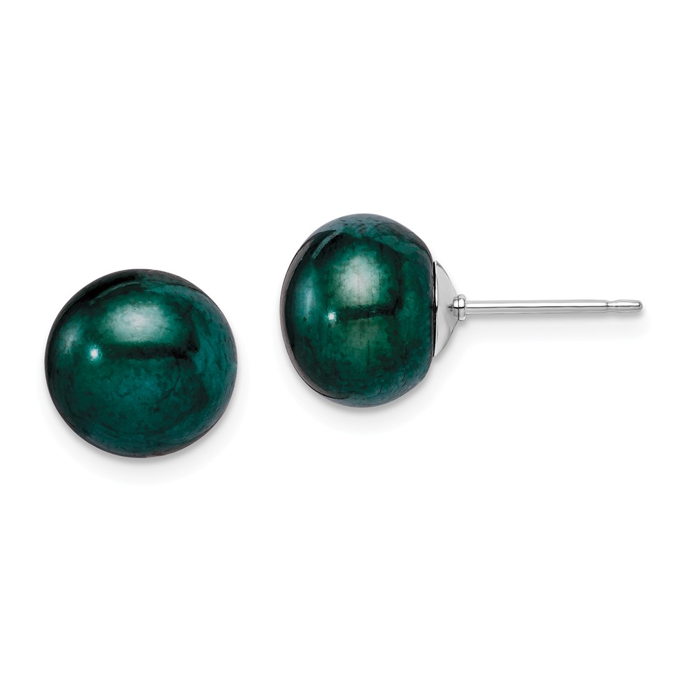 Sterling Silver Green 10-11mm Freshwater Cultured Button Pearl Stud Earrings.