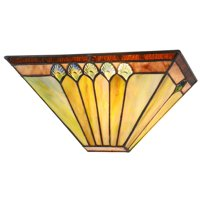 "CHLOE Lighting GRAHAM Tiffany-style 1 Light Mission Indoor Wall Sconce 12"" Wide"