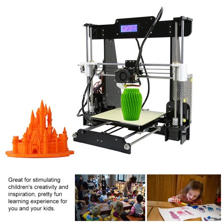 Anet A8 High Precision Desktop 3D Printer Kits Reprap i3 DIY Self Assembly MK8 Extruder Nozzle Acrylic Frame LCD Screen with 8GB SD Card   Size 220*220*240mm Support ABS/PLA/HIPS/PP/Wood (Best Dual Extruder 3d Printer 2019)
