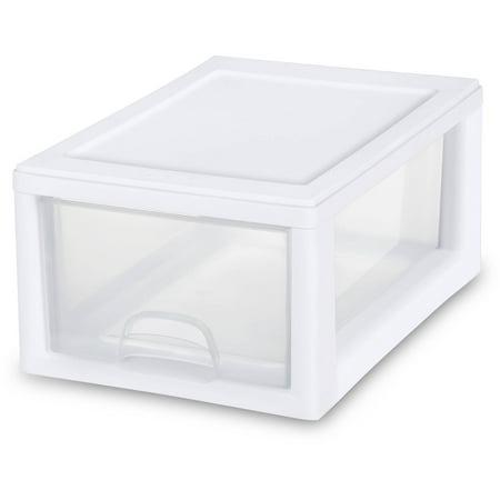 Sterilite 6 Qt. Stacking Drawer White Case of 6