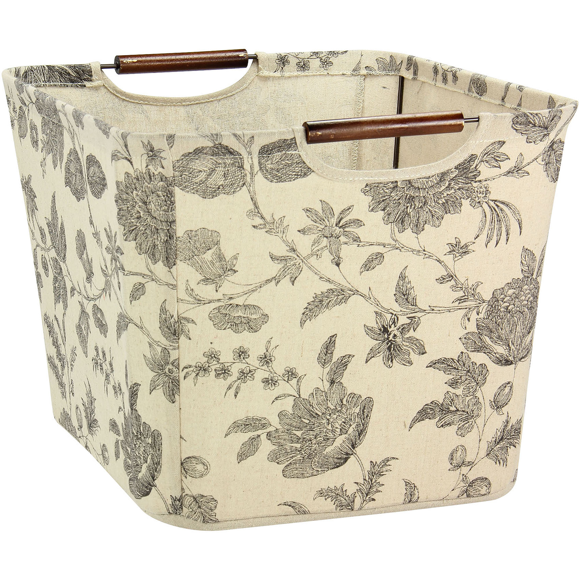 Household Essentials Medium Tapered Storage Bin with Wood Handles, Floral by Household Essentials
