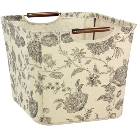 Household Essentials Medium Tapered Storage Bin with Wood Handles, Floral