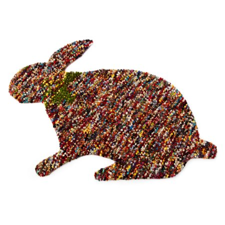Artajul Rugs Artajul Handmade Kids Red Confetti Bunny Shaped Eco