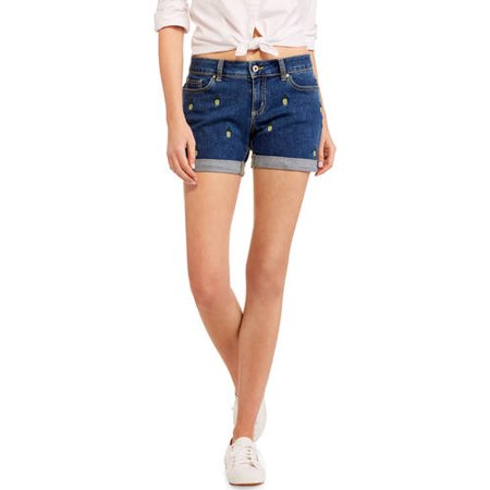Faded Glory Women's Pineapple Boyfriend Denim Shorts - Walmart.com