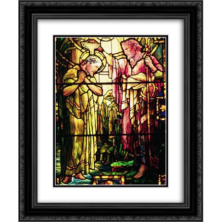 Louis Comfort Tiffany 2x Matted 20x24 Black Ornate Framed Art Print 'The Baptism of Jesus' (Tiffany Baptism Gift)