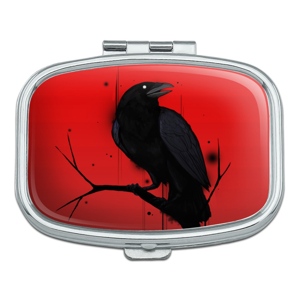 Crow on Branch Rectangle Pill Case Trinket Gift Box