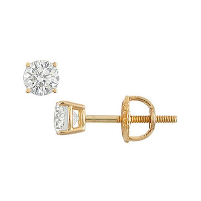FineJewelryVault 18K Round Diamond Stud Earrings - 0. 25 CT.  TW.