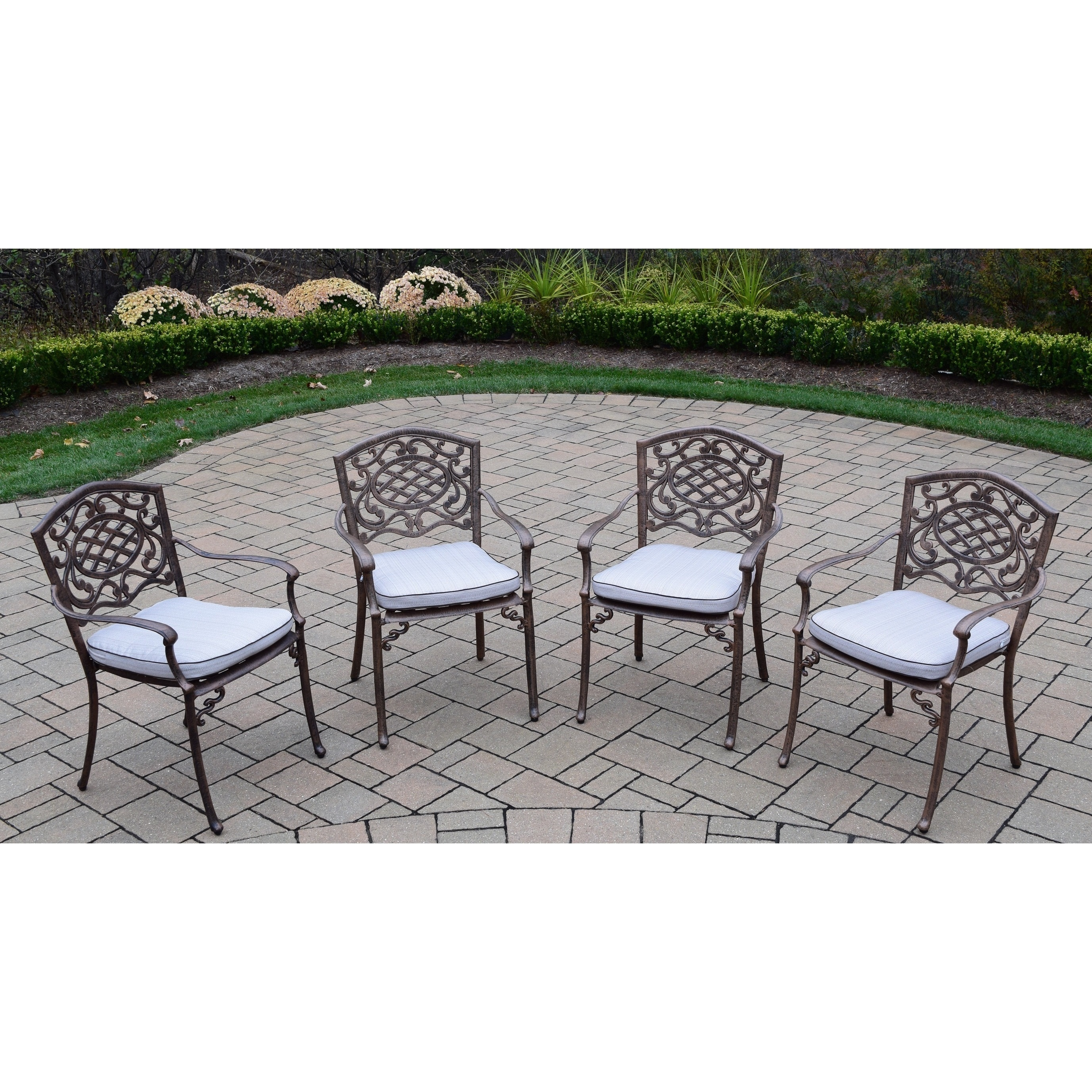 Oakland Living Corporation Dakota Cast Aluminum Welded Stackable Chairs with Cushions (Set of 4)