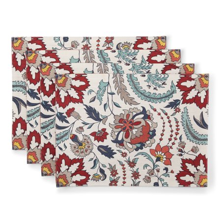 Better Homes & Gardens Boho Jacobean Fabric Placemats, Set of 4 ()