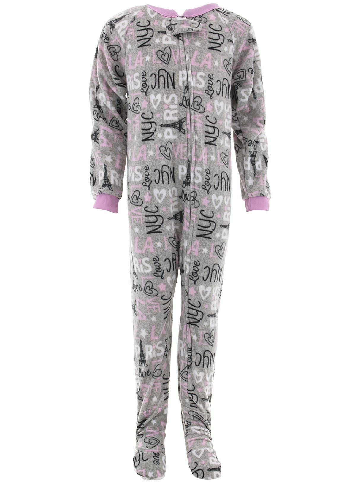 Sweet N Sassy Girls Gray Paris Footed Pajamas