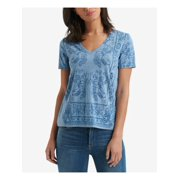 LUCKY BRAND Womens Blue Printed Short Sleeve V Neck T-Shirt Top  Size: XL