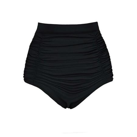 Womens Plus Size Swim Bikini Bottoms Ruched High Waisted Stretch Tankini  Separates