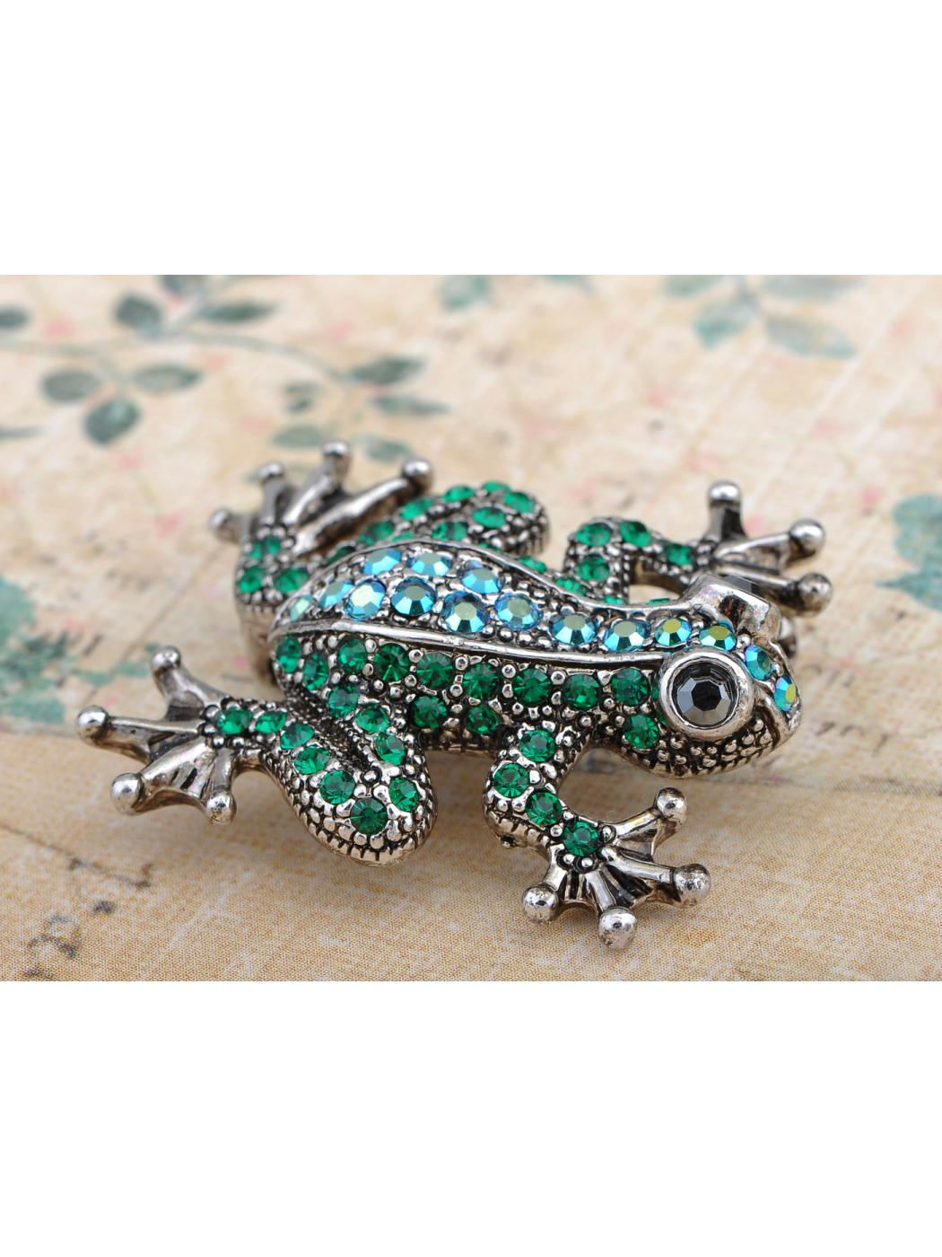 Emerald Green Crystal Rhinestone Poison Water Frog Toad Silver Tone Pin Brooch by