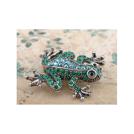 Emerald Green Crystal Rhinestone Poison Water Frog Toad Silver Tone Pin Brooch