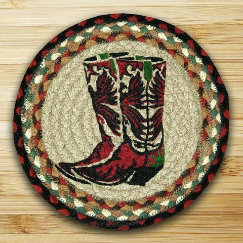 Earth Rugs 80-019 Boots Round Printed Swatch, 10-Inch