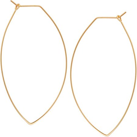 Humble Chic Marquise Threader Big Hoop Earrings - Oval Leaf Drop Dangles, 18K Yellow - 2.3 inch