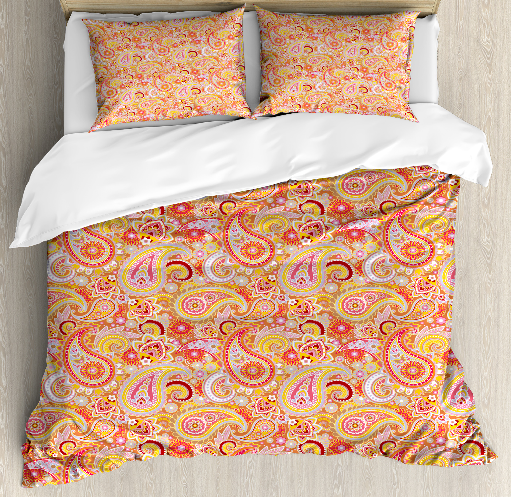 Orange King Size Duvet Cover Set, Asian Design Elements Traditional Paisley Floral Pattern Swirls Leaves Ethnic Motif, Decorative 3 Piece Bedding Set with 2 Pillow Shams, Multicolor, by Ambesonne