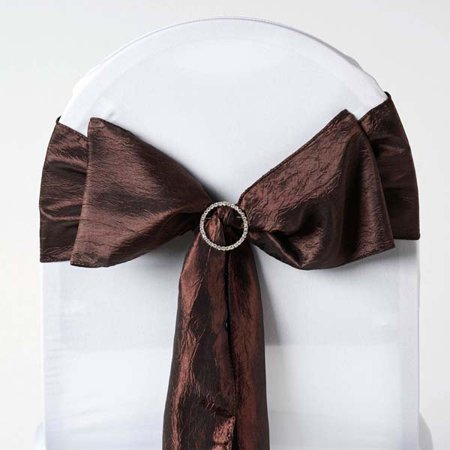 Efavormart 5pc x Taffeta Crinkle Sash for Wedding Events Banquet Decor Chair Bow Sash Party Decoration Supplies - Red Bachelorette Sash