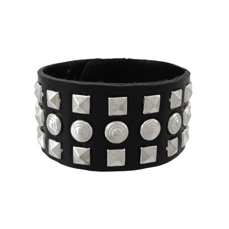 Black Vinyl Wristband with Pyramid/Chrome Studs - image 5 de 5