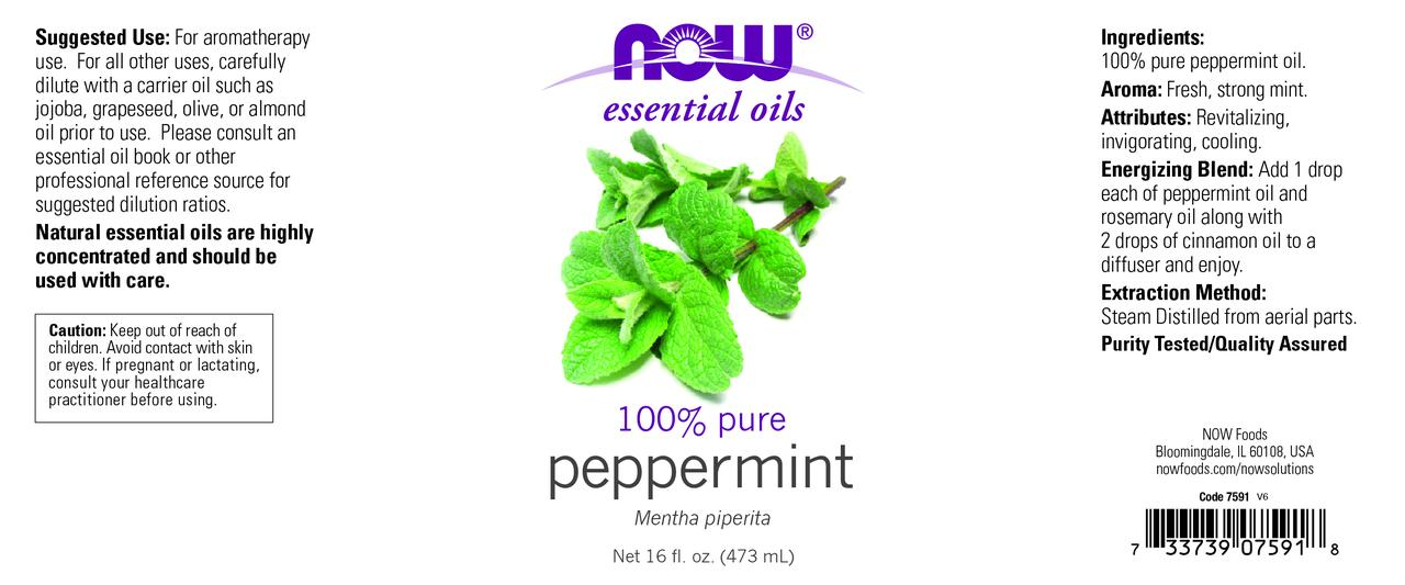 NOW Essential Oils, Peppermint Oil, Invigorating Aromatherapy Scent, Steam  Distilled, 100% Pure, Vegan, 16-Ounce
