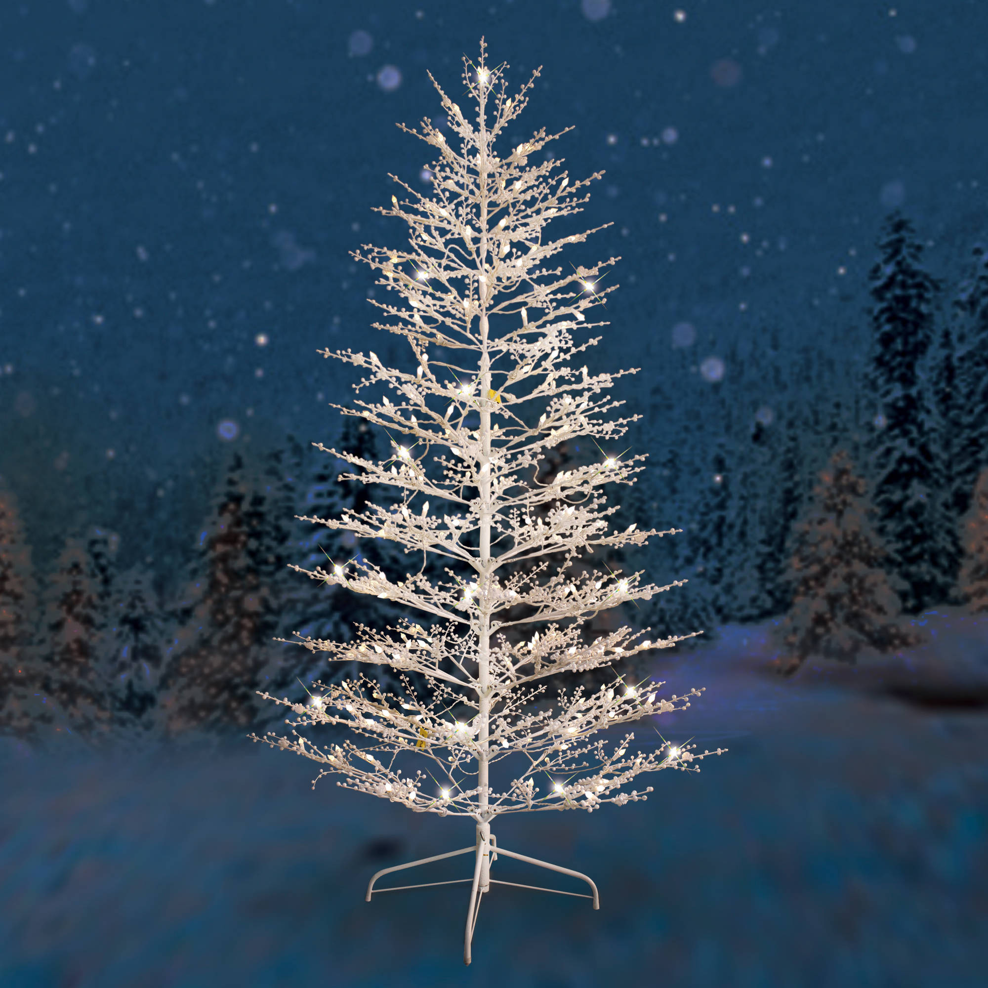 Ge Pre Lit 7 White Winterberry Artificial Christmas Tree