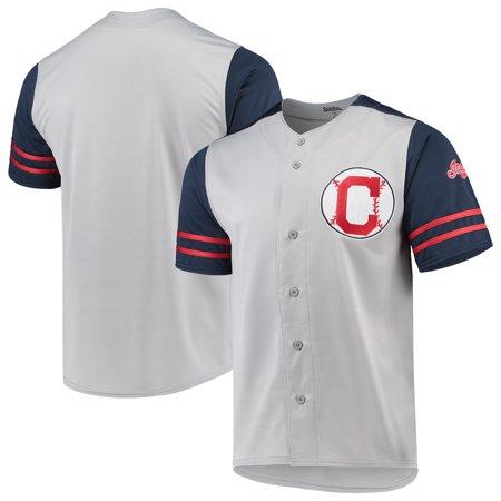 be9a32dd7 Cleveland Indians Stitches Button-Up Jersey - Gray Navy - Walmart.com