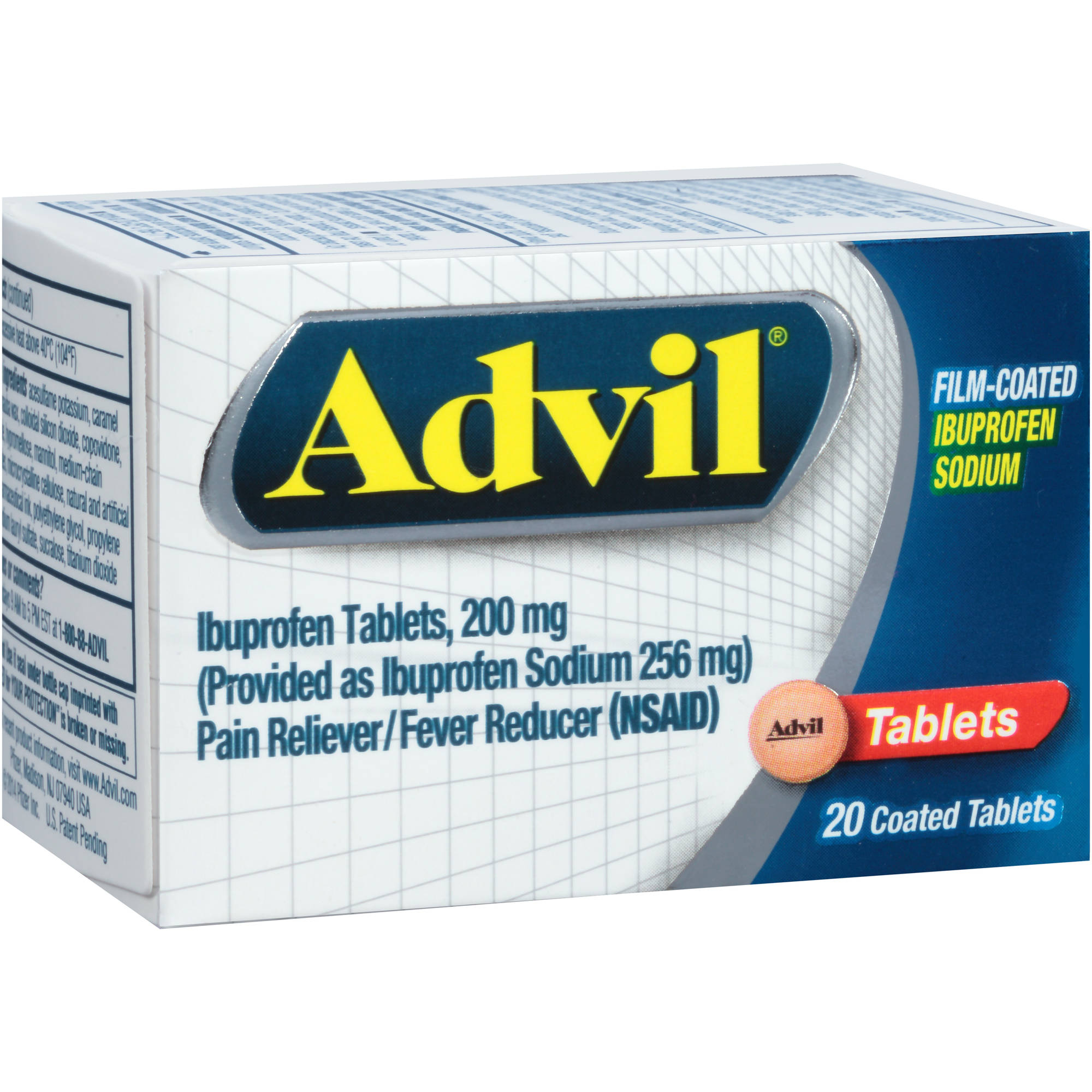 Advil Film-Coated Pain Reliever / Fever Reducer (Ibuprofen), 200 mg 20 count