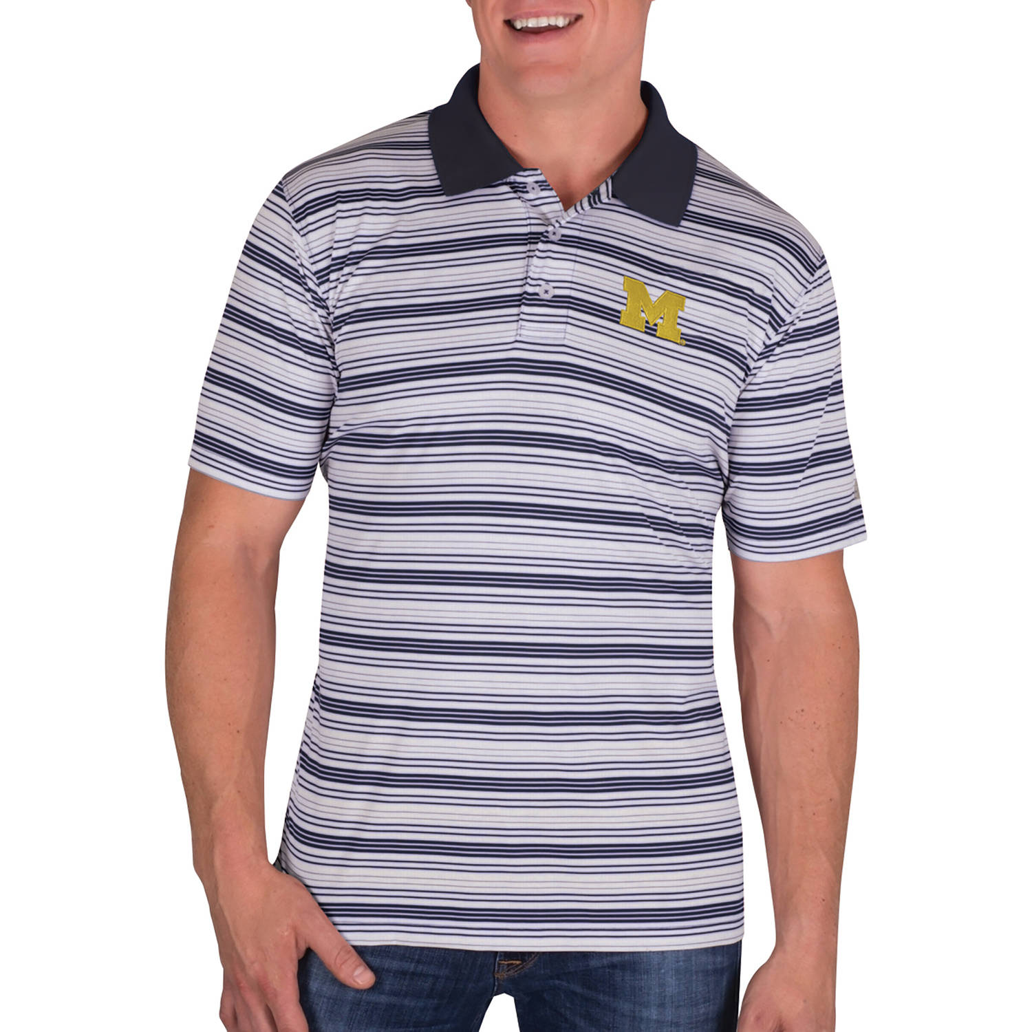 NCAA Michigan Wolverines Men's Classic-Fit Striped Polo Shirt
